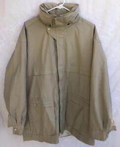 Orvis Vintage Mens Hooded Raincoat Jacket Zip Up Fully Lined Beige Size Large
