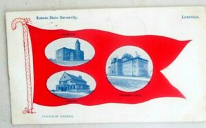 Vntg1908 prelinen postcard of Kansas State University, Lawrence…College Series