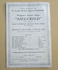 Opera playbill, Wagner's Siegfried, St. Louis Missouri National League Ball park