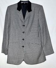 Vintage Houndstooth Black & White Wool Blazer w/ Suede Collar Sz 8 USA  NWOT NOS
