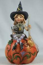 Jim Shore 'Frequent Flyer' Witch On Pumpkin 2020 #6006702 New In Box