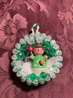 Vintage ERZGEBIRGE German Wood Christmas ANGEL in Xmas Wreath