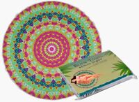 VINTAGE STYLE ROUND NEON MANDALA LARGE BATH BEACH TOWEL NEW WITH TAGS