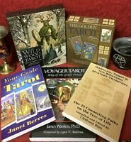 TAROT COLLECTION ~ 2 BOXED TAROT SETS W/ CARDS & 3 SC BOOKS * DIVINATION  WICCAN