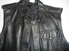 Black Leather Sleeveless Jacket Women or Mans size 14 or Medium man.