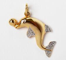 Anhänger Delphin 8 Karat 333 Gold Gelbgold Weißgold Diamant 1,94 g
