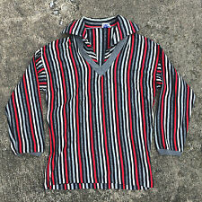 Vintage 1950's Gabardine Surf Strip Sailor Navy Nautical Polo Shirt Atomic Small