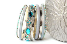 Women's Fashion Blue Shades Boho  Bangles Bracelets Set Turqouise/Silver