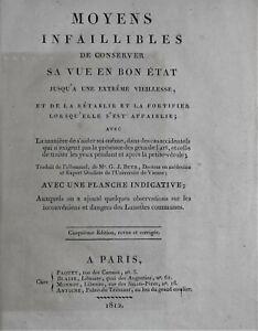 Dr G. J. BEER Moyens infaillibles de conserver sa vue en bon état 1812 Paquet