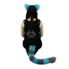 PAWSTAR Cheshire Cat Costume - KITTY TAIL & EARS Fur BlueTeal Gray [ALT]4010