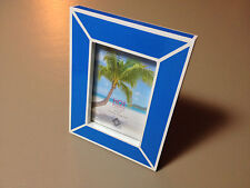 NEW HOT TROPICS by CONCEPTS 4x6 Blue & White Painted Wood Standing Picture Frame