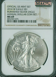 2014-W SILVER EAGLE NGC MAC MS-69 PQ ANNUAL SET 2nd FINEST GRADE MAC SPOTLESS .