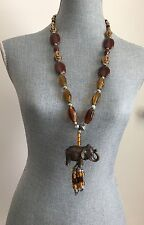 New Elegant Long  Brown Summer Stone Beads pearls Elephant necklace 30""