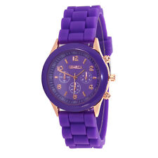 Ladies Fashion Rose Gold Quartz Purple Faced Purple Silicone Band Wrist Watch.
