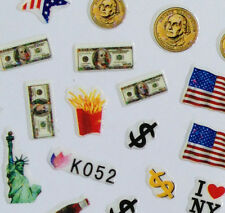 Nail Art 3D Sticker Epoxy United State Flag I love NY Dollar Statue of Liberty