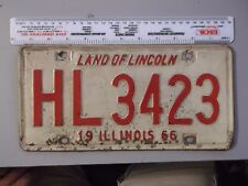 VINTAGE 1966 ILLINOIS LAND OF LINCOLN LICENSE PLATE HL 3423