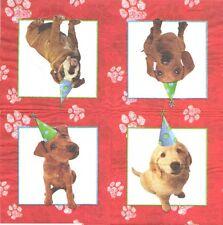 Lote de 4 Toallas papel Perro en la celebración de Recorte Collage de Decopatch