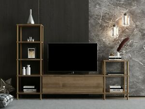 """Walnut Colour Wooden TV Stand Unit Media Storage Space Shelves up to 43""""-Selva"""