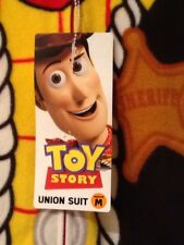 Toy Story Woody Union Suit Men's Medium Cowboy Sheriff Pajamas Zipper Front NWT