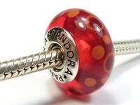 PANDORA 925 ALE SILVER MURANO GLASS RED ORANGE SPOTS BUBBLES CHARM 790690