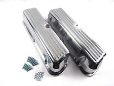 SB Ford 289-302-351 Polished Aluminum Finned Valve Covers No Hole BPE-2201