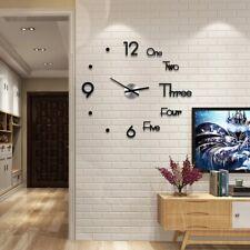 Modern DIY Large Wall Clock 3D Sticker Home Office Room Decor Set Mirror Set