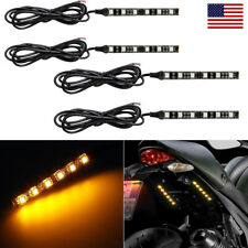 4x 6-LED Motorcycle Turn Signals Flexible Strip Blinkers Amber Flush Tail Light