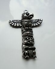 More details for native american indian totem pole pewter pendant unusual western zp303