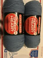 Lot of 2 Red Heart Super Saver Skeins 382 COUNTRY BLUE 8 oz Worsted 4 ply