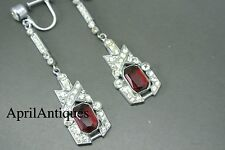 Vintage art deco 40s red paste clear glasses dangle earrings