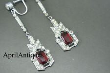 Vintage art deco 40s red paste clear glasses dangle earrings