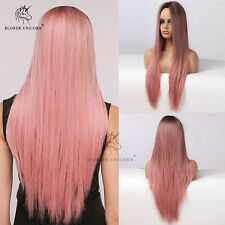 Long Straight Pink Wigs Natural Hair Wig Heat Resistant Synthetic Wigs for Women