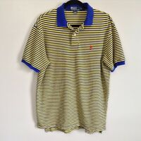 Vintage Polo Ralph Lauren Rugby Polo Blue Yellow Striped Shirt Pony Logo Sz L