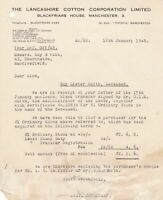 The Lancashire Cotton Corporation Ltd Manchester 1948 Stock Sold Letter Rf 37226