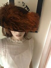 Victorian Brown Wool Felt Ladies Hat Ostrich Feathers Plumes