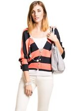 Cover Stitched striped knit cardigan in orange and navy womens sz m
