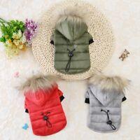Winter Pet Dog Hoodie Down Jacket Puppy Warm Fur Collar Coat Jumpsuit Clothes US