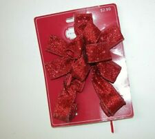New Nwt Red Glitter Mini Tree Topper Bow Christmas