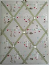 Hand Made Fabric Notice Board In Sophie Allport Woodland Party Fabric