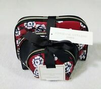 Adrienne Vittadini Cosmetic Bag Gift Set 3 Piece Domed Set Red Floral Print New