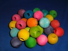 "1"" Large Round Wood Beads with 3/8"" hole 6 pcs Colored Diy Bird Toy Craft Parts"