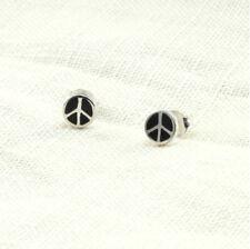 925 Sterling Silver Stud Earrings | Black Onyx Gemstone Inlay | Peace