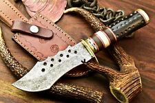 Custom Handmade Damascus Steel Blade Bowie Hunting Knife   Bull Horn