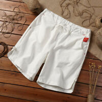 M-5XL Mens Baggy Linen Shorts Summer Drawstring Casual Elastic Beach Short Pants