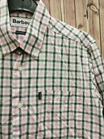 Barbour Bruce Men's Shirt Checkered Fitted Pink/Green Cotton size S