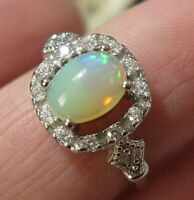 Beautiful STERLING SILVER Real Fire OPAL Gem Stone Art Deco Revival RING Q 8