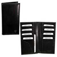 Portafoglio Porta Carte di Credito e Documenti In Vera Pelle Nero Grande 18*9 cm