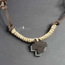 NEW Leather Hemp Men's Metal Pendant 2 Cross Surfer Necklace Choker np032