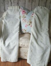 """Pair pretty cream muslin opaque fully lined embroidered curtains 100""""wx53"""""""