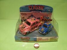 VINTAGE 163  VW VOLKSWAGEN BEETLE CLASSIC -PINK COCKTAIL + MINI - GC IN BLISTER
